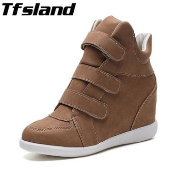 Women's Height Increasing Shoes - Breathable Wedges Ankle Boots Trainers Sneakers Thick Sole Skateboarding Shoes Zapatos Mujer