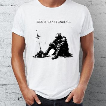 Men's T Shirt Dark Souls Bonfire Thou Who're Undead Artsy Gaming Tee