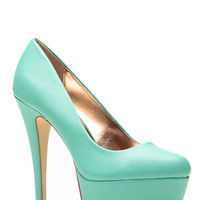Anne Michelle Minty Fresh Almond Toe Pumps