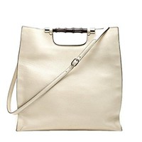 Gucci Bamboo Daily Leather Tote Handbag 370828 9022 (Off-White)