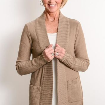Taupe Open Cardigan with Pockets
