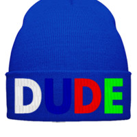 dude embroidery hat - Beanie Cuffed Knit Cap