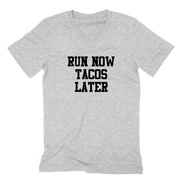 Gym, fitness athletic outfit, run now tacos later, motivation, inspiration  V Neck T Shirt