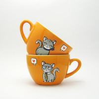 Cat cup - Personalised Decor - Custom  - Cats in love - tea cups - His&hers - hand painted in Italy