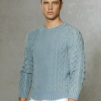 Indigo Aran Roll-Neck Sweater