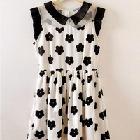 Fashion Daisy Floral Print Polo Neckline Dress
