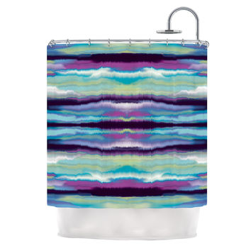 "Nina May ""Artik Blue Stripe"" Blue Teal Shower Curtain"