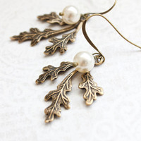 Branch Earrings Rustic Wedding Woodland Jewellery Winter Wonderland Nature Inspired Antique Gold Brass Dangle Earrings Cream Pearl Drop