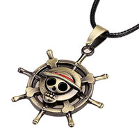 Generic One Piece Necklace Luffy Skeleton Straw Ace Hat Alloy Pendant