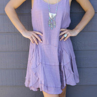 Pretty Petals Lavender Layered Ruffle Slip Dress With Adjustable Straps