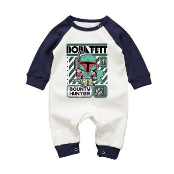 2017 Newborn Clothing Pajamas Star Wars Boba Fett Baby Boy Girl Rompers Cotton Long-sleeved Toddler Jumpsuits Autmn Baby Clothes