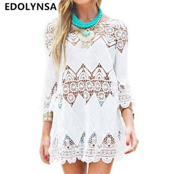 DCCKLW8 New Arrivals Beach Cover up Rayon White Swimwear Tunic Ladies Robe de Plage Pareos For Women Pareo Bathing Suit Cover ups #Q12