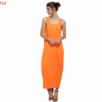 Lady Womens Dress Fashion Casual Sleeveless Ruffled Backless Dresses Strap Loose Fitting Long Maxi Party Beach Dress SV021284