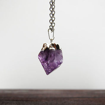 Amethyst Necklace - Raw Natural Mineral Necklace