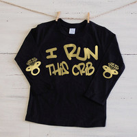 Kids I Run This Crib Long Sleeve Tee Shirt Toddler Baby Diamond Bling Pacifier Glitter Elbow Patch Shirt Binkie Patch