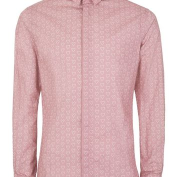NOOSE & MONKEY Pink and White Heart Print Shirt - Collared Shirts - Clothing