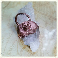 Honey Calcite Electroformed Copper Skull Pendant Electroplated Rustic Patina Gemstone Copper Jewelry
