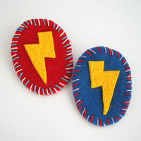 Thunder badge handmade super hero felt brooch