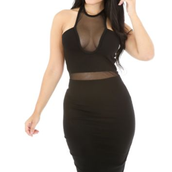 Mesh Bodycon Knee Length Midi Dress - Black