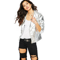SWT45 2016 Silver PU Leather Lady Jacket Punk Long Sleeve Zipper Moto Women Jacket Coat NTSMSS