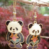 Vintage Cloisonne Enamel Panda Bear Earrings