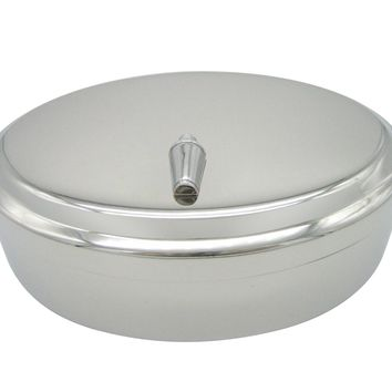Silver Toned Cocktail Shaker Pendant Oval Trinket Jewelry Box