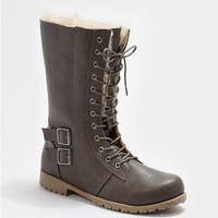 Gray Faux Fur Lined Combat Boot