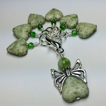 Green Heart Stitch Markers with Butterfly Holder