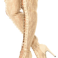 Beige Lace Detailed Thigh High Lace Up Boots