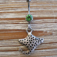 Belly Button Ring - Body Jewelry -Silver Stingray With Green Gem Stone Belly Button Ring