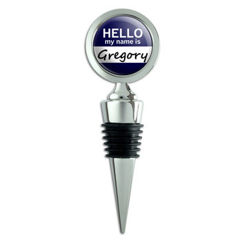 Gregory Hello My Name Is Wine Bottle Stopper