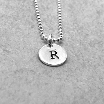 R Initial Necklace, Sterling Silver, Letter R Necklace, Hand Stamped Jewelry, All Letters Available, Everyday Jewelry, Gifts for Her