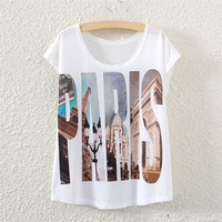 White Short Sleeve Letter Paris Print T-Shirt