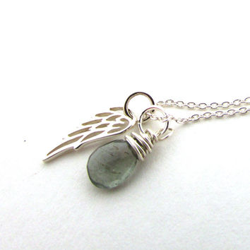 Guardian angel necklace, moss aquamarine pendant with angel wing, March birthstone, memorial jewelry, aquamarine necklace, sterling silver