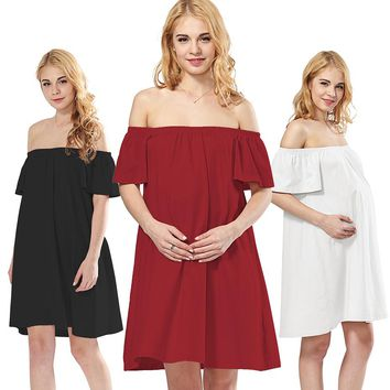 Off Shoulder A-line Above Knee Maternity Nursing Dress