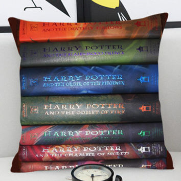 Harry potter books  - Pillow Cover by PillowKesetiaan.