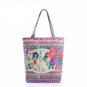 Printed Casual Tote Canvas Beach Shoulder Shopping Bags