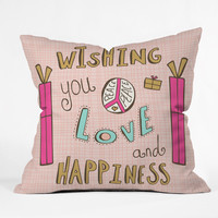 Heather Dutton Peace Love And Happiness Throw Pillow