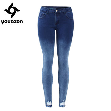 2087 Youaxon Women`s Gradient Effect Dark Blue Mid Low Waist Stretchy Ripped Pencil Skinny Denim Pants Jeans For Women Jean
