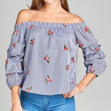 Ladies fashion 3/4 bubble sleeve off the shoulder all over floral embo stripe woven top
