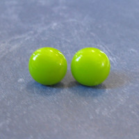 Bold Green Earrings, Pierced Post Earings, Hypoallergenic, Fused Glass Jewelry - Lime - 2123 -3