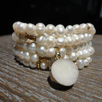 Fresh Water Pearls Wrap Bracelet with Mini White Druzy/ Long Pearl Necklace/Dime Size/Fresh Water Pearls/Wrap Bracelet