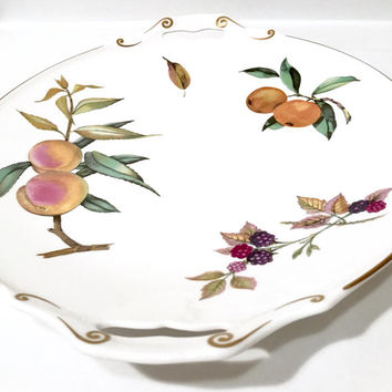 Royal Worcester Arden Cake Plate  Open Side Handles  Multi Fruit And Color  Gold Trim Cake Serving Plate English Bone China Vintage 1970's