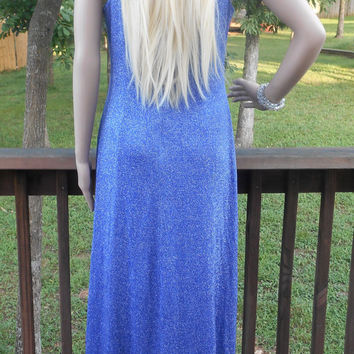 Blue, Lurex & Acetate, Lined, Sleveless, Evening, Prom, Column, Zippered Back, Vintage Dress, From The Late 80s or Early 90s- Size 10 Petite