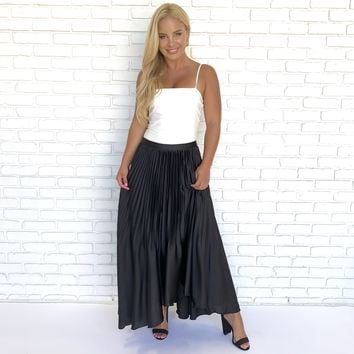 Lovely Day Black Pleat Midi Flare Skirt