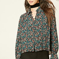 Semi-Sheer Floral Print Shirt