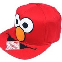 Sesame Street Elmo Big Face Mens Red Snapback Snap Back Adjustable Hat Cap:Amazon:Clothing