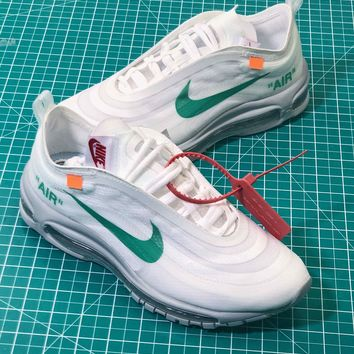 Fifa World Cup Off White X Nike Air Max Og Ul 97 White Green Sport Running Shoes - Best Online Sale