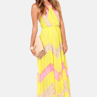 Pixie Chicks Pink and Yellow Maxi Dress