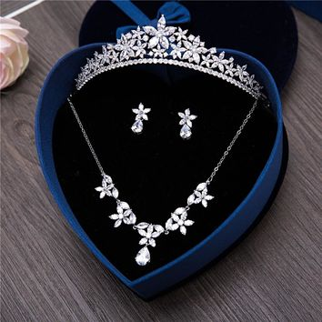 Cubic Zirconia Bridal Wedding Jewelry Sets Tiara Crown Marquise Flower Necklace Earrings